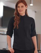 Ladies` Mandarin Shirt Roll Tab Sleeve
